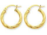 14k Polished 3.25mm Twisted Hoop Earrings style: TC388