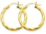 14k Polished 3.25mm Twisted Hoop Earrings style: TC389