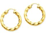 14k Polished 5.0mm Twisted Hoop Earrings style: TC393