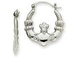 14k White Gold Claddagh Hoop Earrings style: TC499