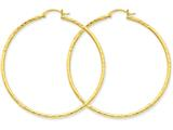 14k Bright-cut 2mm Round Tube Hoop Earrings style: TC768