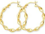 14k 4.00mm Twisted Hoop Earrings style: TE217