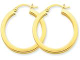 14k 3mm Polished Square Hoop Earrings style: TE538