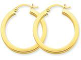 14k 3mm Polished Square Hoop Earrings style: TE538