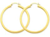 14k 3mm Polished Square Hoop Earrings style: TE541