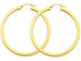 14k 3mm Polished Square Hoop Earrings style: TE542