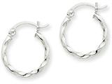 14k White Gold Twist Polished Hoop Earring style: TE564