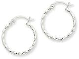 14k White Gold Twist Polished Hoop Earring style: TE565