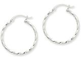 14k White Gold Twist Polished Hoop Earring style: TE566