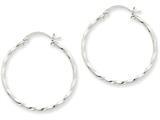 14k White Gold Twist Polished Hoop Earring style: TE567