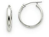 14k White Gold Round Tube Hoop Earrings style: TF106