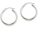 14k White Gold Round Tube Hoop Earrings style: TF108