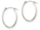 14k White Gold Polished 2.75mm Oval Tube Hoop Earrings style: TF112