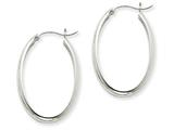 14k White Gold Polished 3.75mm Oval Tube Hoop Earrings style: TF114
