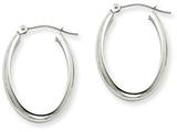 14k White Gold Polished 3.75mm Oval Tube Hoop Earrings style: TF115