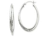 14k White Gold Bright-cut Polished Oval Hoop Earring style: TF474