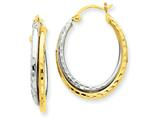 14k Two-tone Diamond-cut Polished Oval Hoop Earring style: TF477