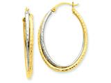 14k Two-tone Diamond-cut Polished Oval Hoop Earring style: TF479