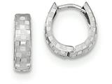 14k White Gold Diamond Cut 4mm Patterned Hinged Hoop Earrings style: TF544