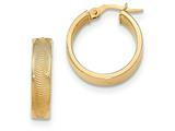 14k Textured Post Hoop Earring style: TF564