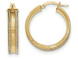 14k With Glitter Hoop Earrings style: TF583