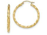 14k Satin Twisted Hoop Earrings style: TF593