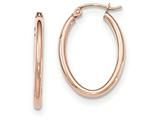 14k Rose Gold Oval Hoop Earrings style: TF595