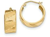 14k Satin Diamond Cut Hoop Earrings style: TF601