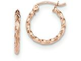 14k Rose Gold Twisted Hoop Earrings style: TF605