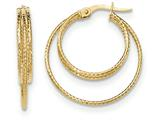 14k Polished/textured Post Hoop Earring style: TF608
