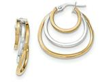 14k Two-tone Polished Post Hoop Earring style: TF610