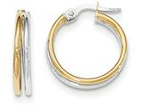 14k Two-tone Polished Post Hoop Earring style: TF612