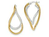 14k Two-tone Polished Post Hoop Earring style: TF613