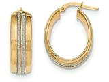 14k With Glitter Oval Hoop Earrings style: TF615