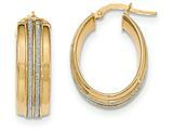 14k With Glitter Oval Hoop Earrings style: TF615