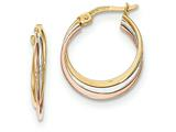 14k Tri-color Polished Hoop Earrings style: TF618