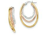 14k Tri-color Polished Post Hoop Earring style: TF620