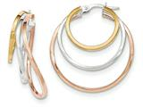 14k Tri-color Polished Post Hoop Earring style: TF621