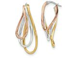 14k Tri-color Polished Post Hoop Earring style: TF622