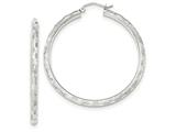 14k White Gold Textured Hoop Earrings style: TF628