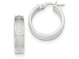 14k White Gold Textured Post Hoop Earring style: TF631