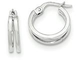 14k White Gold Polished Post Hoop Earring style: TF636