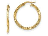 14k Textured/Bright-cut Post Hoop Earring style: TF640