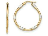 14k And Rhodium Polished Hoop Earrings style: TF641