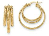 14k Polished/Bright-cut Post Hoop Earring style: TF642