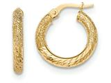 14k Textured/Bright-cut Post Hoop Earring style: TF643