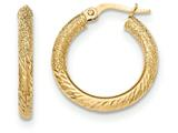 14k Textured/diamond-cut Post Hoop Earring style: TF644