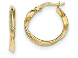 14k Gold Polished Twisted Hoop Earrings style: TF645