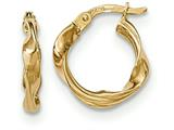 14k Gold Polished Twisted Hoop Earrings style: TF646