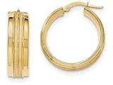14k Textured And Polished Hoop Earrings style: TF650